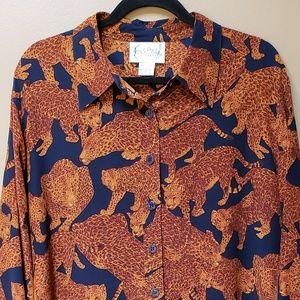 DVF soll leopard button down blouse